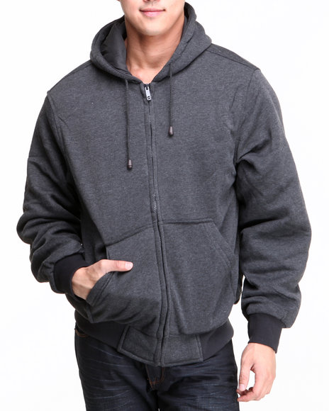 Basic Essentials Men Thermal Lined Hoodie Charcoal XLarge