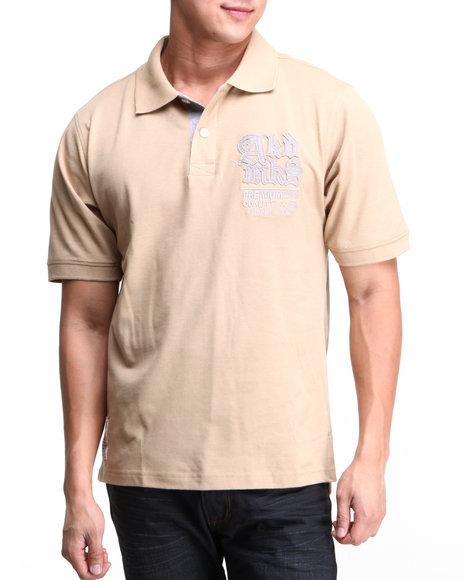 Akademiks Men Russel SS Pique Polo Shirt Khaki XXLarge