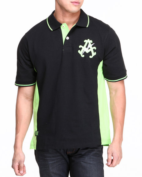 Akademiks Black Mercury Cut & Sew Polo Shirt
