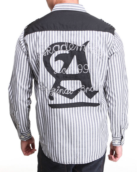 Akademiks - Men Black Bristol Striped L/S Button Down Shirt