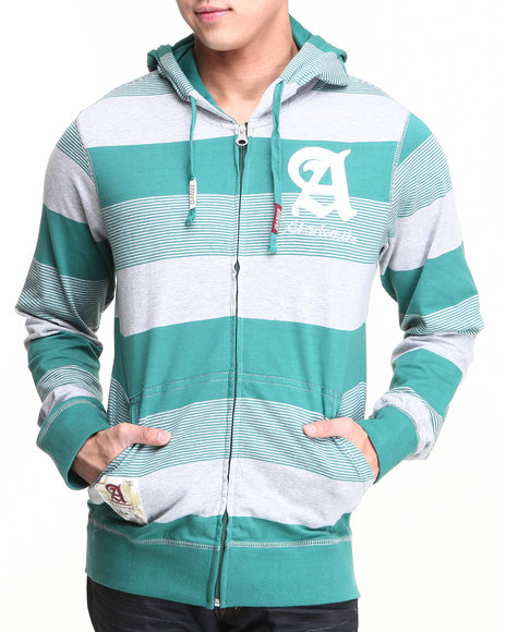 Akademiks - Men Green Windsor Stripe Full Zip Hoodie W/ Felt Applique