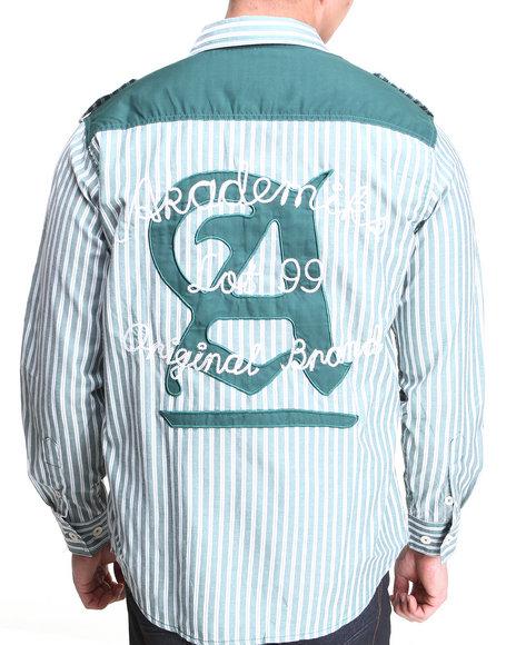 Akademiks - Men Green Bristol Striped L/S Button Down Shirt - $22.99