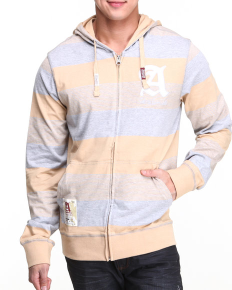 Akademiks - Men Khaki Windsor Stripe Full Zip Hoodie W/ Felt Applique