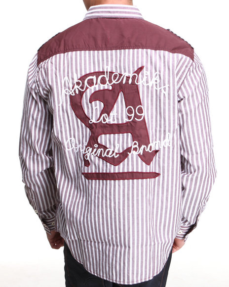 Akademiks Maroon Bristol Striped L/S Button Down Shirt