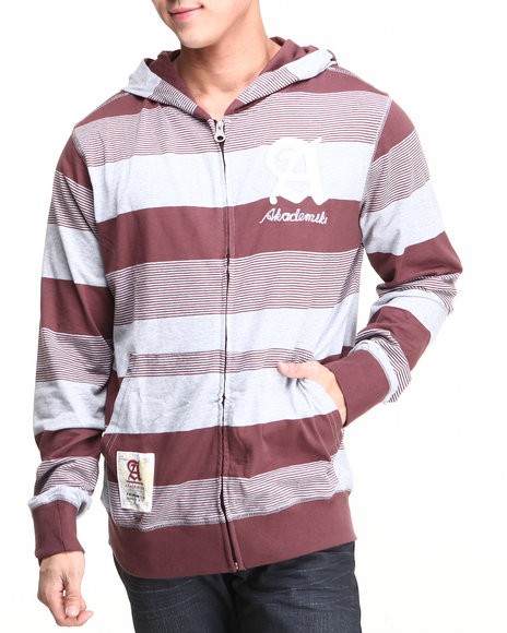 Akademiks - Men Maroon Windsor Stripe Full Zip Hoodie W/ Felt Applique