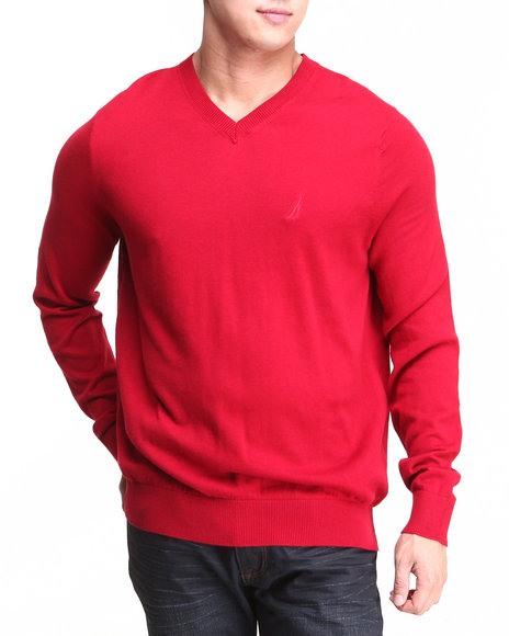 Nautica - Men Red Solid Modal V-Neck Sweater