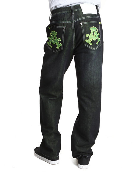 Akademiks - Men Lime Green Olympian Neon Denim Jeans