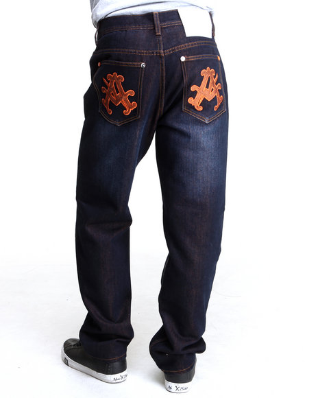 Akademiks - Men Orange Olympian Neon Denim Jeans