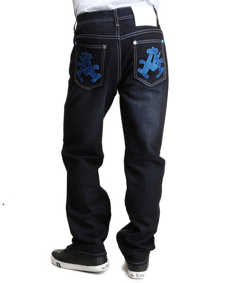 Akademiks - Men Blue Olympian Neon Denim Jeans
