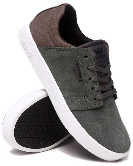 Supra - Boys Grey Westway Grey Suede/Canvas Sneakers (Kids)