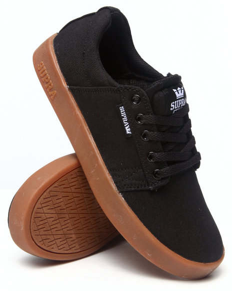 Supra - Westway Black Canvas/Gum Sole Sneakers (Kids)