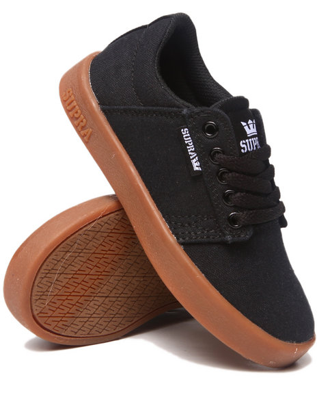 Supra Boys Black Westway Black Canvas/Gum Sole Sneakers (Youth)