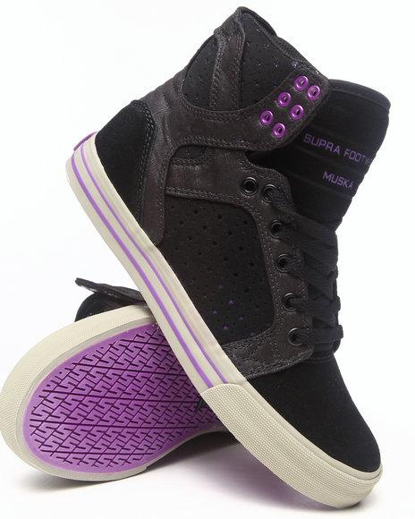 Supra Black,Purple Skytop Black Canvas/Black Star Perforated Suede Sneakers