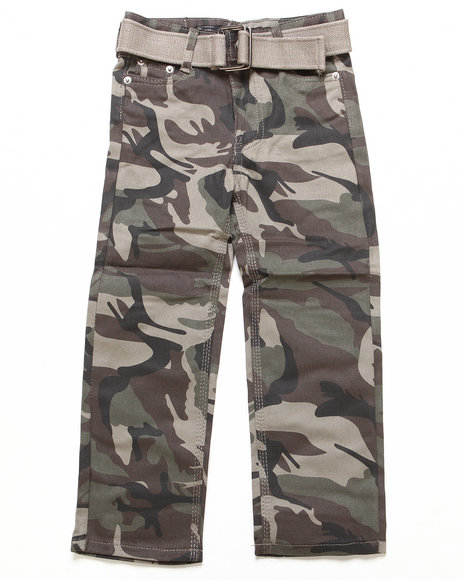 Arcade Styles - Boys Camo Belted Bull Denim Pants (4-7)