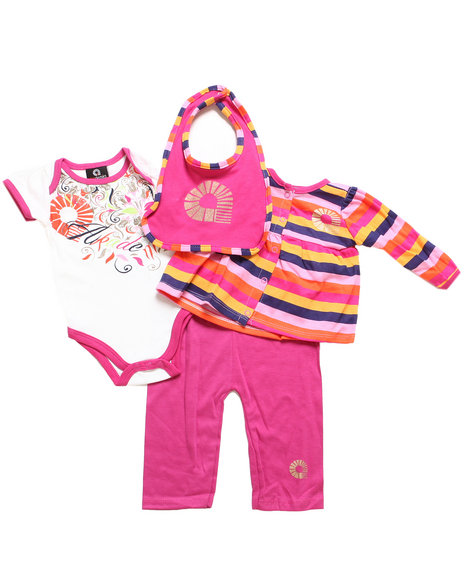 Akademiks - Girls Pink 4 Pc Striped Take Me Home Set (Newborn)