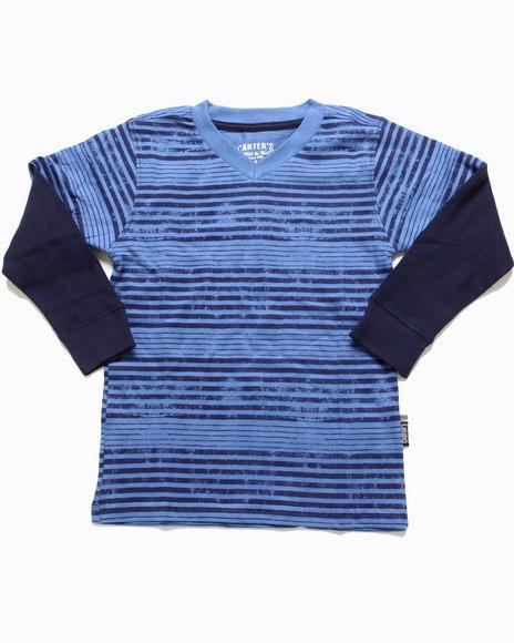 Arcade Styles - Boys Blue Striped V-Neck Twofer (4-7)