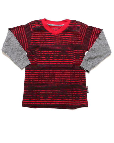 Arcade Styles - Boys Red Striped V-Neck Twofer (4-7)