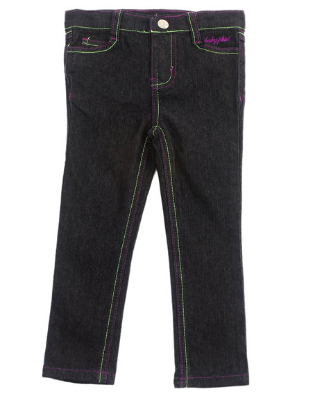 Baby Phat - Girls Black Embroidered Pocket Jeans (2T-4T)