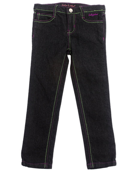 Baby Phat - Girls Black Embroidered Pocket Jeans (4-6X)