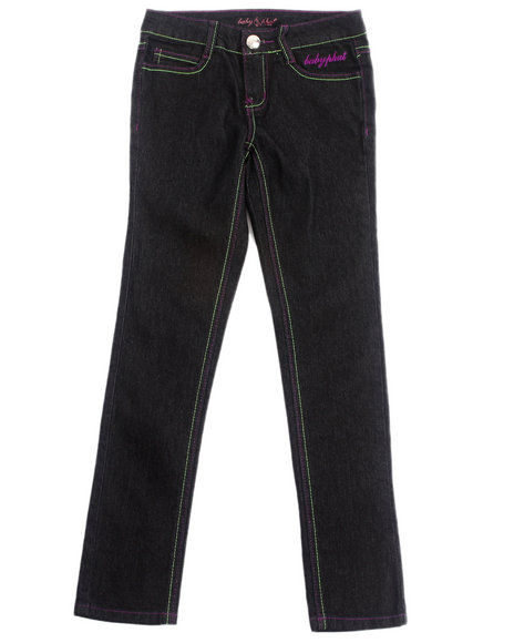 Baby Phat - Girls Black Embroidered Pocket Jeans (7-16)
