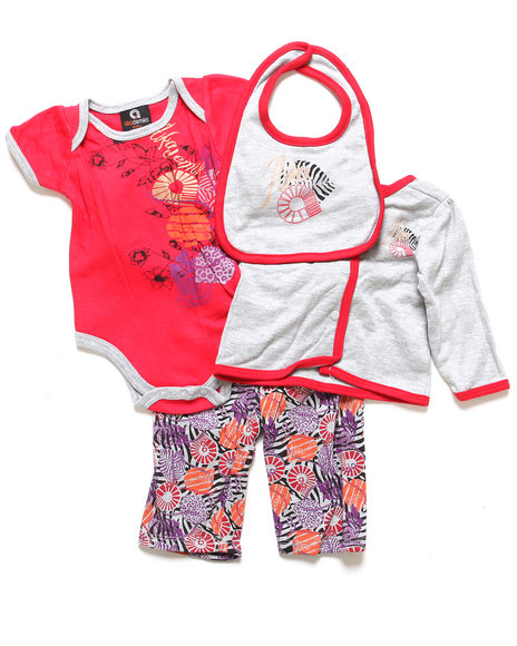 Akademiks - Girls Light Grey 4 Pc Take Me Home Set (Newborn)