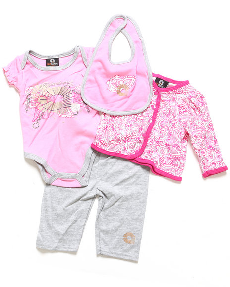 Akademiks - Girls Light Pink 4 Pc Take Me Home Set (Newborn)