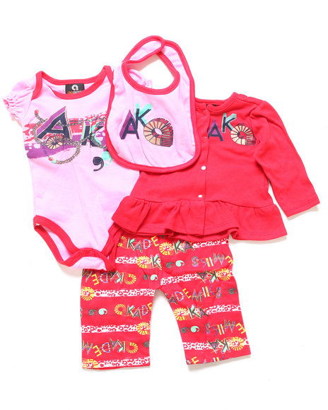 Akademiks - Girls Red 4 Pc Striped Take Me Home Set (Newborn)