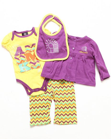 Akademiks - Girls Purple 4 Pc Take Me Home Set (Newborn)