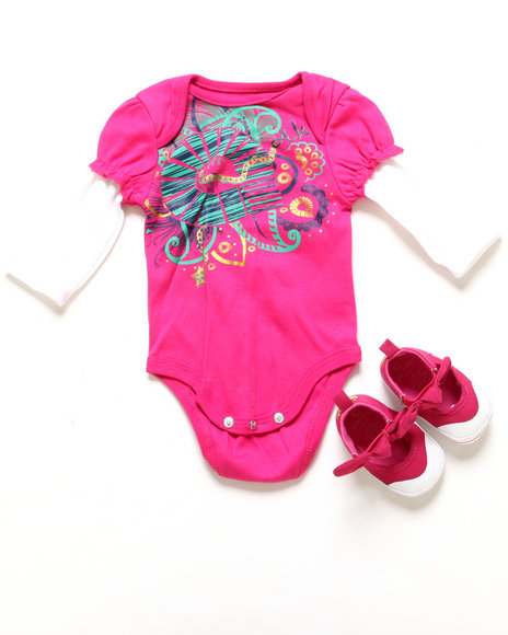 Akademiks - Girls Pink Twofer Creeper & Shoes (Newborn)