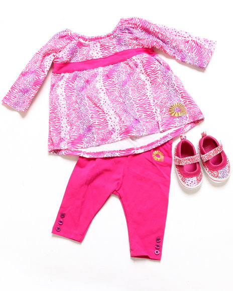 Akademiks - Girls Pink 3 Pc Set - Tunic, Leggings, & Shoes (Newborn)