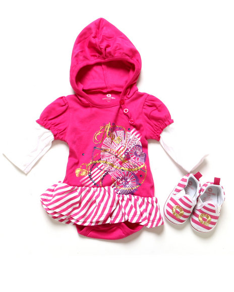 Akademiks - Girls Pink 2 Pc Set - Creeper Dress & Shoes (Newborn)