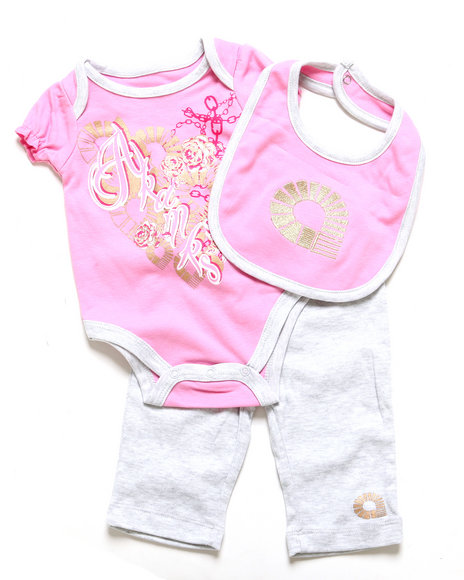 Akademiks - Girls Light Pink 3 Pc Set - Creeper, Leggings, & Bib (Newborn)