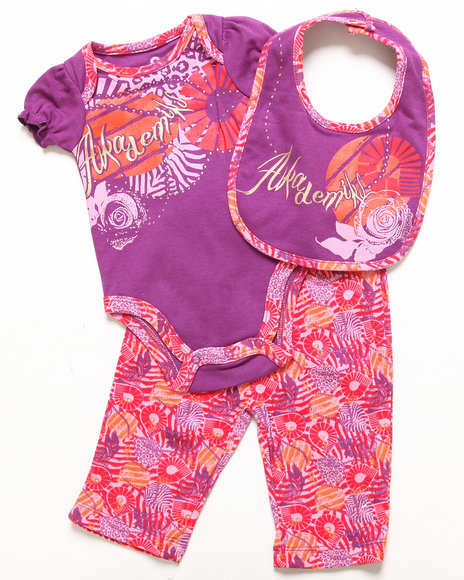 Akademiks - Girls Purple 3 Pc Set - Creeper, Leggings, & Bib (Newborn)