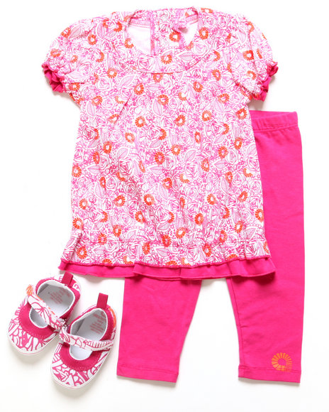 Akademiks - Girls Pink, Pink 3 Pc Set - Tunic, Leggings, & Shoes (Infant)