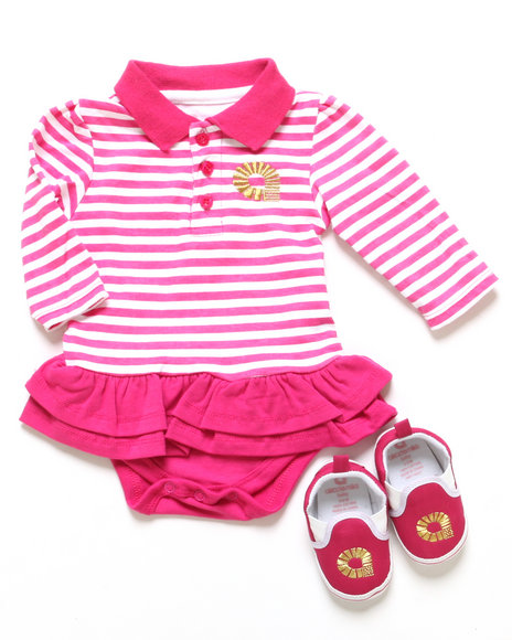 Akademiks - Girls Pink Polo Creeper Dress & Shoes (Newborn)