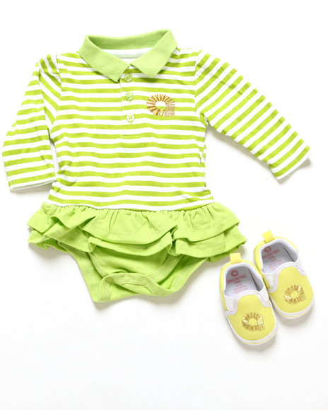 Akademiks - Girls Lime Green Polo Creeper Dress & Shoes (Infant)