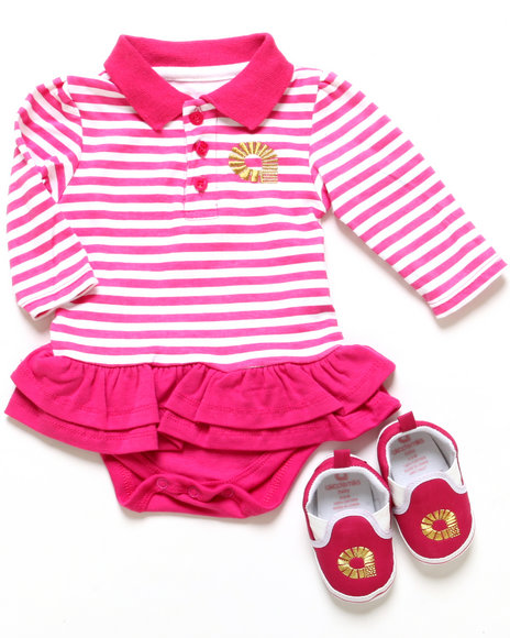Akademiks - Girls Pink Polo Creeper Dress & Shoes (Infant)