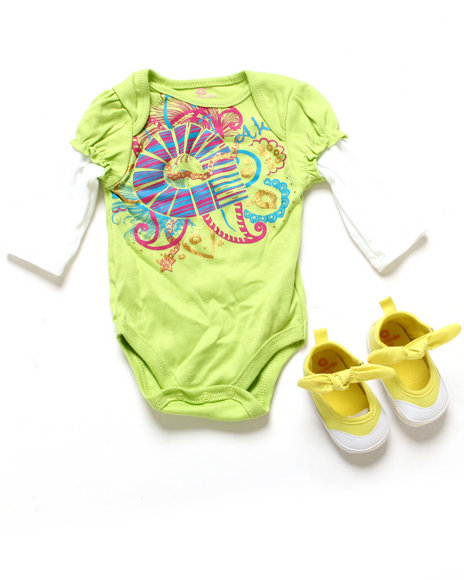 Akademiks - Girls Lime Green Twofer Creeper & Shoes (Newborn)