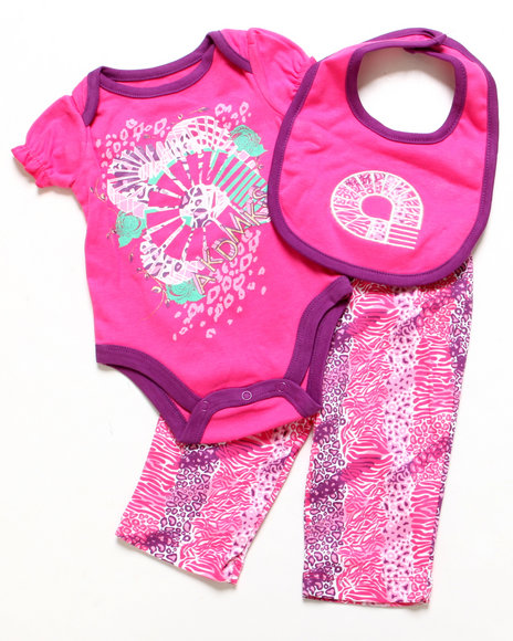 Akademiks - Girls Pink 3 Pc Set - Creeper, Leggings, & Bib (Newborn)