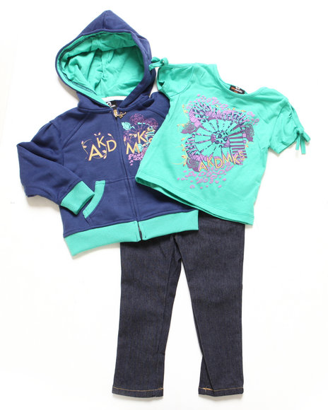 Akademiks - Girls Navy 3 Pc Set - Hoody, Tee, & Jeans (2T-4T)