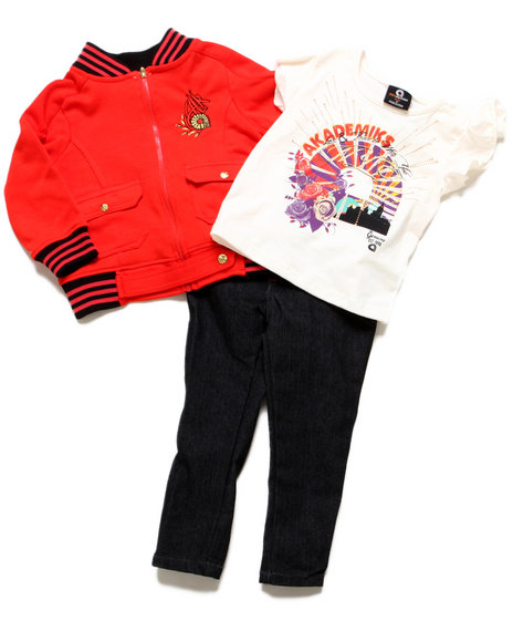 Akademiks - Girls Red 3 Pc Set - Jacket, Tee, & Jeans (2T-4T)