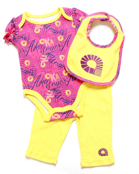 Akademiks - Girls Yellow 3 Pc Set - Creeper, Leggings, & Bib (Newborn)