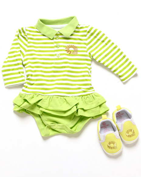 Akademiks - Girls Lime Green Polo Creeper Dress & Shoes (Newborn)
