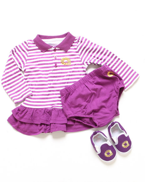 Akademiks - Girls Purple 3 Pc Set - Polo Creeper Dress & Shoes (Infant)