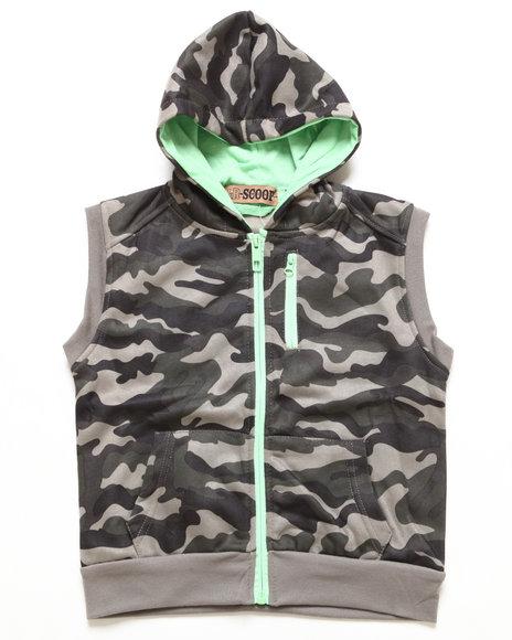 Arcade Styles Boys Camo,Olive Hooded Fleece Vest (4-7)