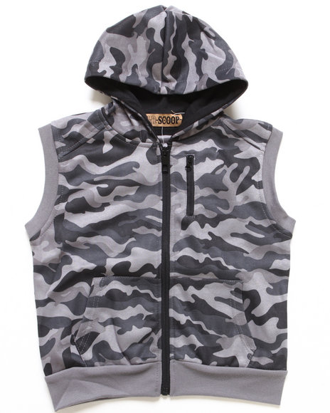 Arcade Styles Boys Camo,Grey Hooded Fleece Vest (4-7)