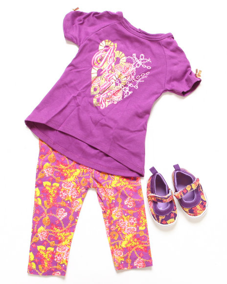 Akademiks - Girls Purple 3 Pc Set - Tunic, Leggings, & Shoes (Infant)