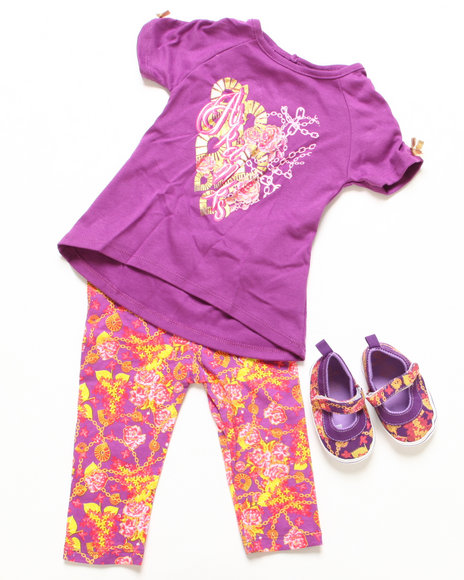 Akademiks - Girls Purple 3 Pc Set - Tunic, Leggings, & Shoes (Newborn)