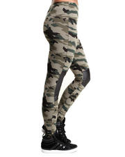 Fashion Lab - Bootcamp Camo Leggings w/vegan leather detail