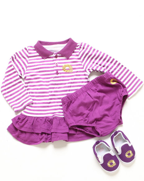 Akademiks - Girls Purple 2 Pc Set - Polo Creeper Dress & Shoes (Newborn)